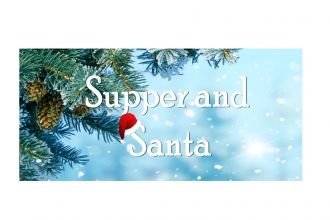 A fir tree with Supper and Santa in white font.