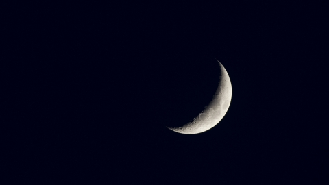 Stargazing crescent moon