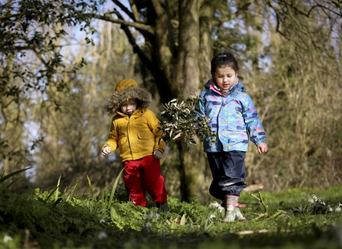 Children walking in the woods